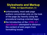 stylesheets and markup html 4 0 specification 1