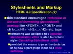 stylesheets and markup html 4 0 specification 2
