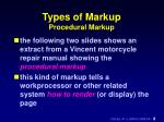 types of markup procedural markup