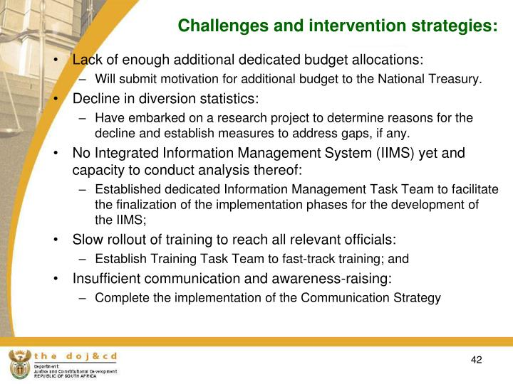 Challenges and intervention strategies: