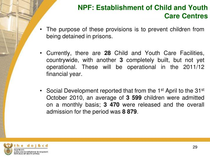 NPF: Establishment of Child and Youth Care Centres