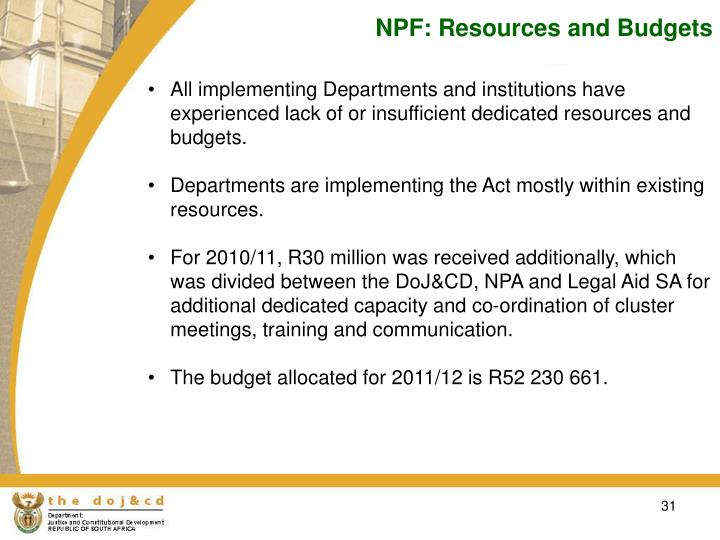 NPF: Resources and Budgets