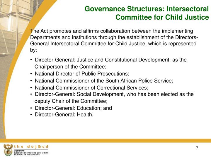 Governance Structures: Intersectoral Committee for Child Justice