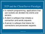tcp and the client server paradigm