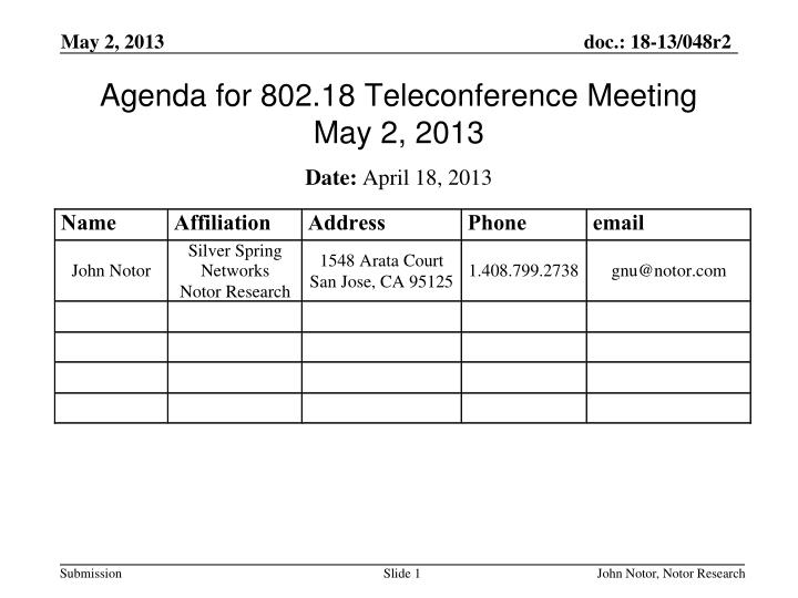 Agenda for 802 18 teleconference meeting may 2 2013