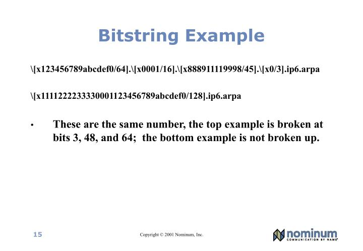 Bitstring Example