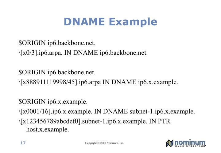 DNAME Example