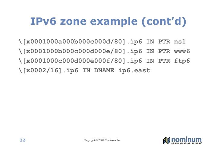 IPv6 zone example (cont'd)
