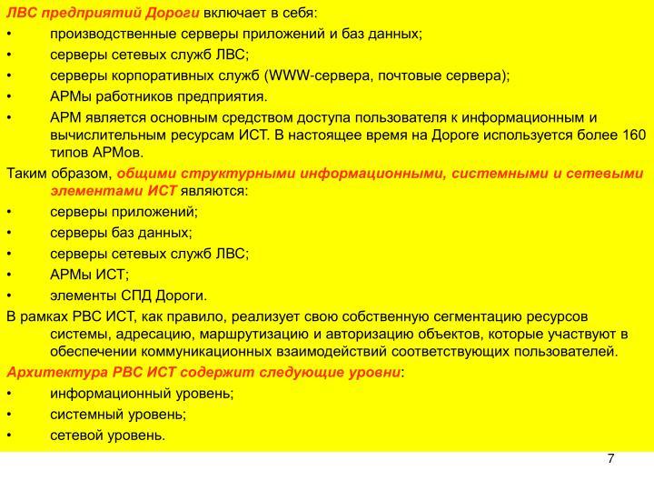 ЛВС предприятий Дороги