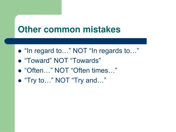 Other common mistakes