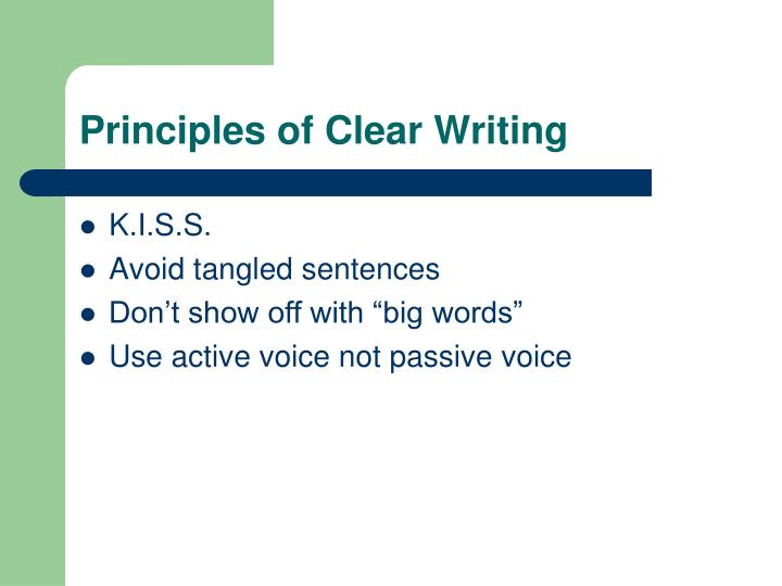Principles of Clear Writing