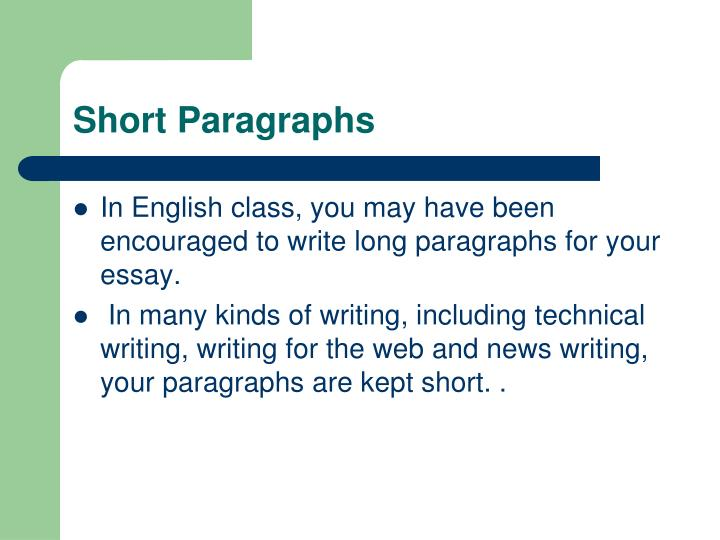 Short paragraphs