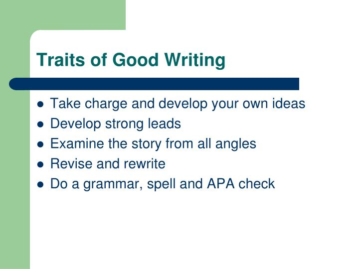 Traits of good writing