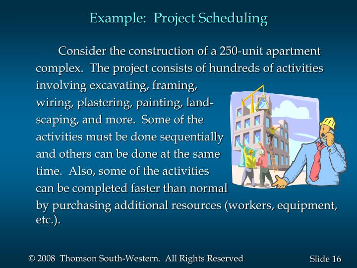 Example:  Project Scheduling