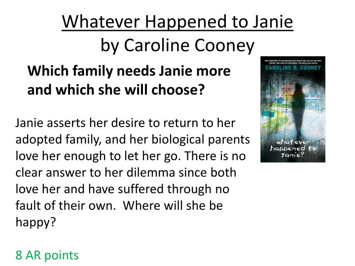 Whatever happened to janie by caroline cooney
