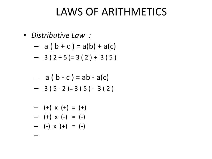 LAWS OF ARITHMETICS
