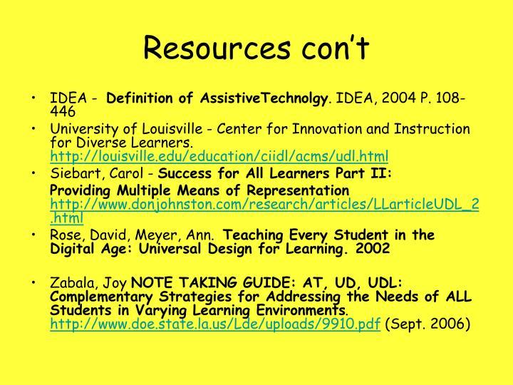 Resources con't