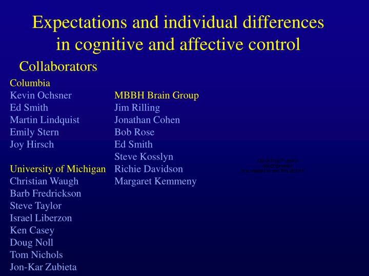 expectations and individual differences in cognitive and affective control n.