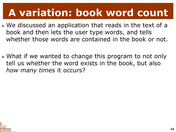 A variation: book word count