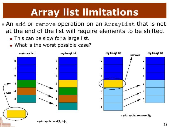 Array list limitations