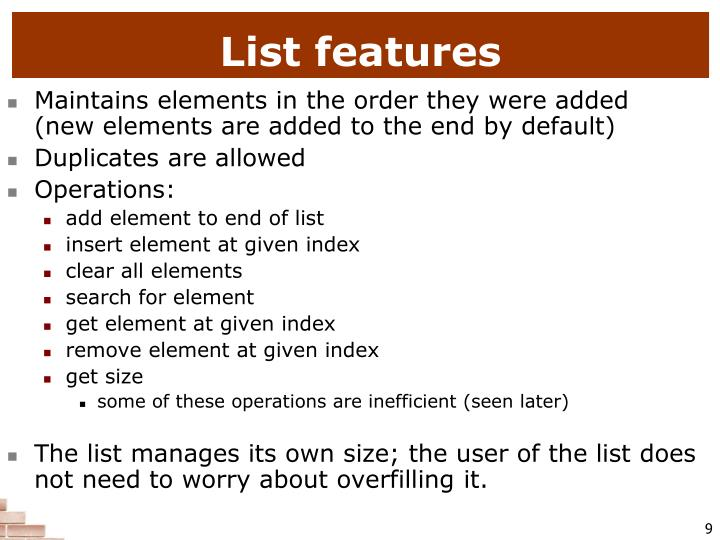 List features