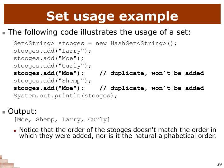 Set usage example