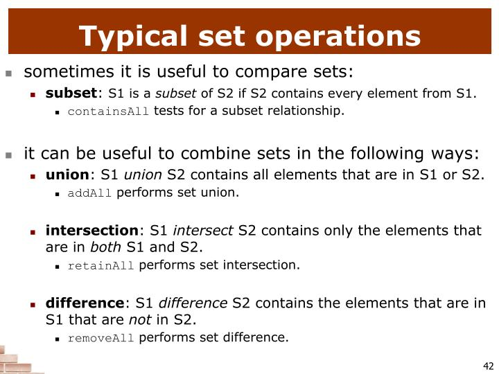 Typical set operations
