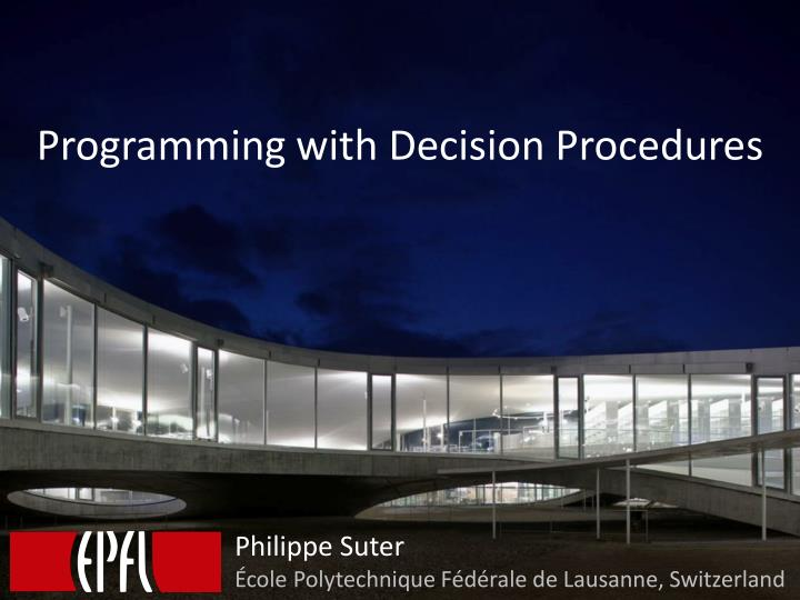 programming with decision procedures n.