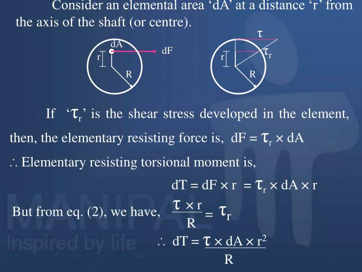 Consider an elemental area 'dA' at a distance 'r' from the axis of the shaft (or centre).