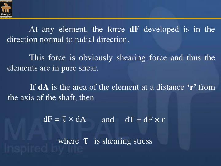 At any element, the force
