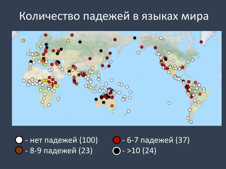 Количество падежей в языках мира