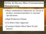define discuss mass customization manufacturing