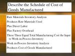 describe the schedule of cost of goods manufactured