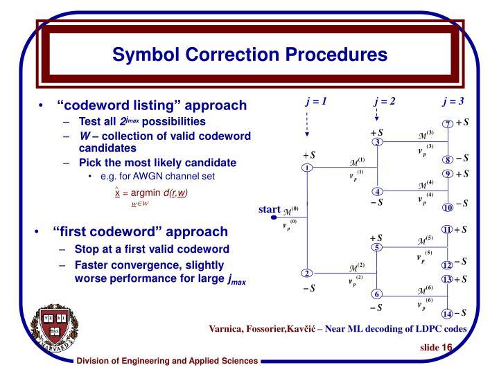 Symbol Correction Procedures