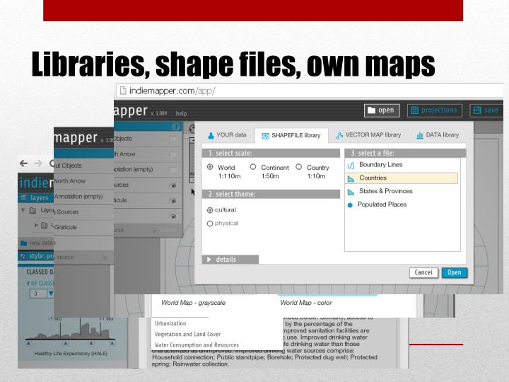 Libraries, shape files, own maps
