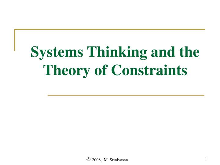 systems thinking and the theory of constraints n.