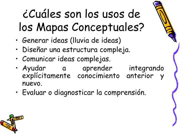 ¿Cuáles son los usos de los Mapas Conceptuales?