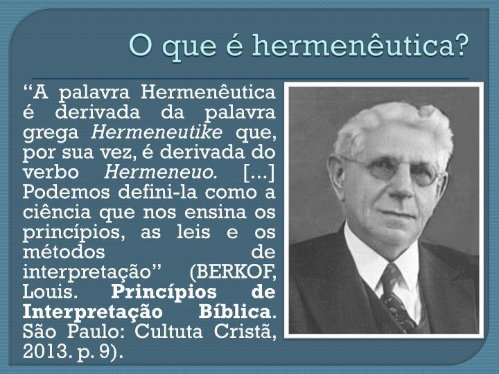 O que é hermenêutica?
