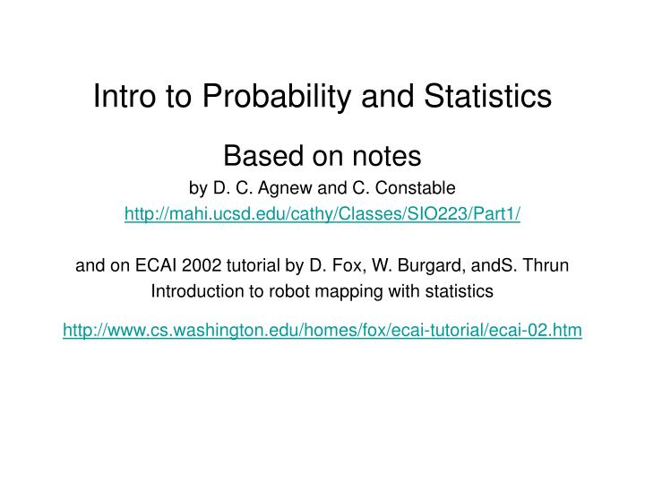 PPT - Intro to Probability and Statistics PowerPoint