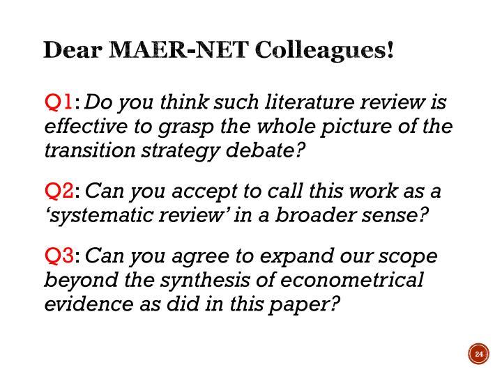 Dear MAER-NET Colleagues!