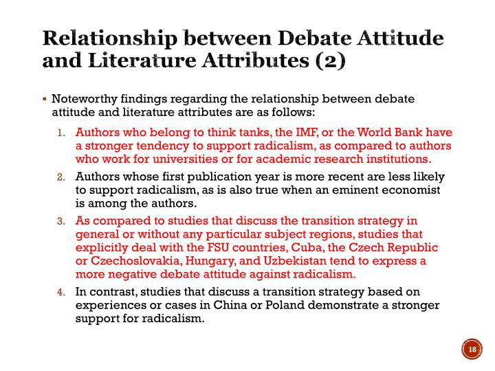 Relationship between Debate Attitude and Literature Attributes (2)