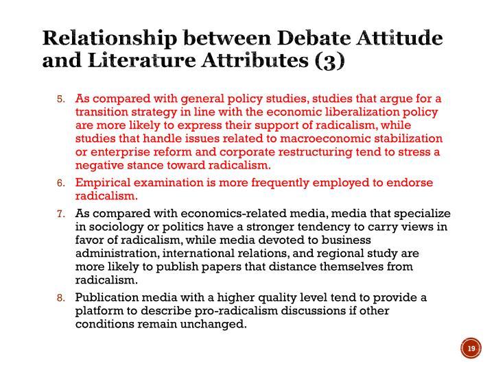 Relationship between Debate Attitude and Literature Attributes (3)