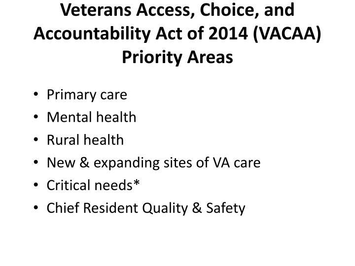 Veterans Access, Choice, and Accountability Act of 2014 (VACAA