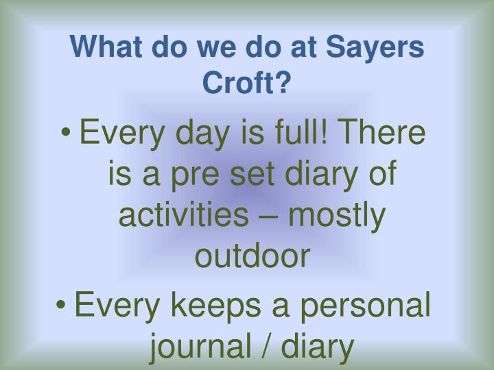 What do we do at Sayers Croft?