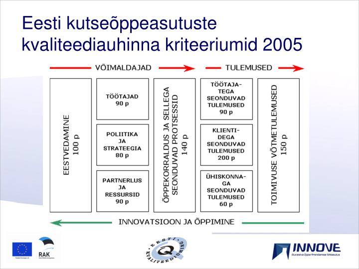 Eesti kutseõppeasutuste kvaliteediauhinna kriteeriumid 2005