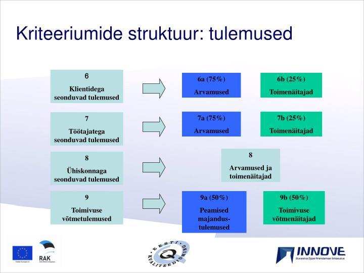 Kriteeriumide struktuur: tulemused