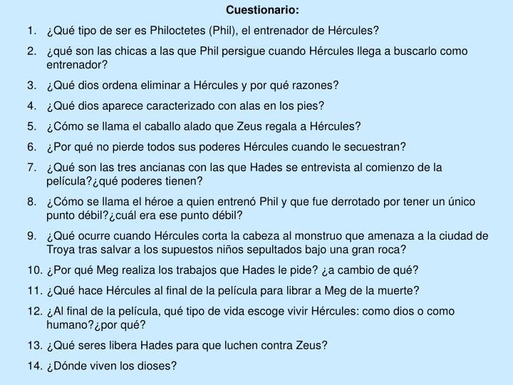 Cuestionario: