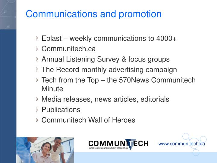 Communications and promotion