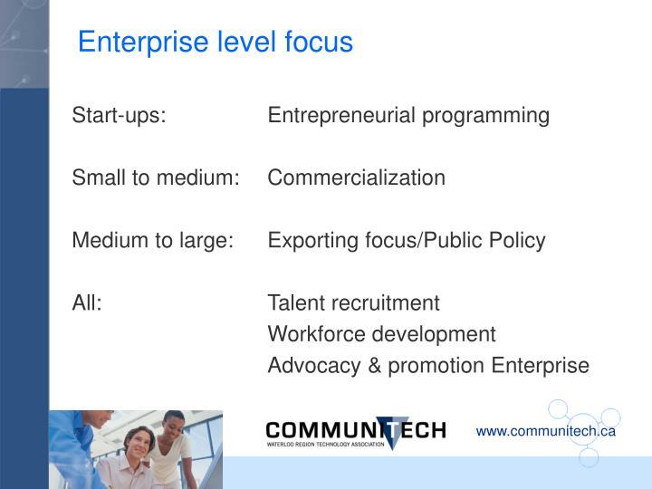 Enterprise level focus