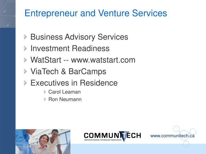 Entrepreneur and Venture Services